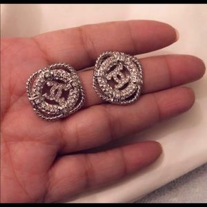 Repost Chanel Crystal CC logo earrings